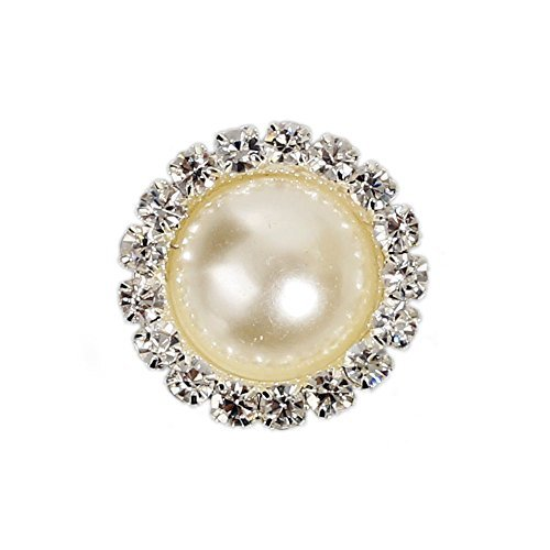 CasStar 10 Pcs Crystal Pearl Button Silver Plated Metal Base Rhinestone Buttons