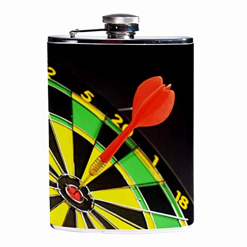 - Leak Proof Liquor Hip Flask 7.6 oz Flagon Mug Leather Cover with Game Target Print Pocket Container for Discrete Shot Drinking of Whiskey Alcohol Liquor