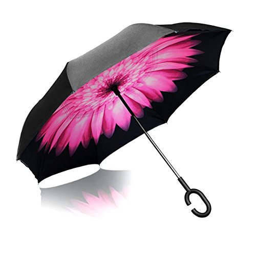 (CCTRO Double Layer Inverted Umbrella Cars Reverse Umbrella, Windproof UV Protection Big Straight Umbrella Inside Out Travel Umbrella for Car Rain Outdoor with C-Shaped Handle)