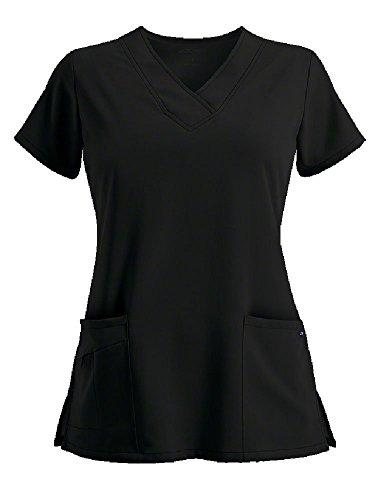 Jockey Women's Scrubs V-Neck Crossover Scrub Top, Black, S ()