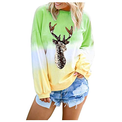 [해외]Msaikric Womens Long Sleeve Christmas Elk Print Sweatshirt Colorblock Tie Dyed Pullover Casual Tops / Msaikric Womens Long Sleeve Christmas Elk Print Sweatshirt Colorblock Tie Dyed Pullover Casual Tops Green