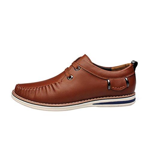 Zon Lorence Heren Nieuwe Mode Handmatige Hechtdraad Lace-up Loafers Schoenen Casual Italiaanse Lederen Board Sneakers Bruin