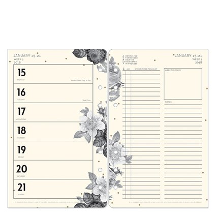 Compact Planner Love Weekly Ring-bound Planner Jan 18 - Blush Florals