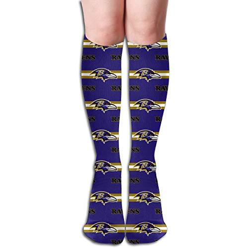 Sorcerer Custom Patterned Girls Long Sock Baltimore Ravens Football Team Women's Polyester Cotton Creativity Gift Socking