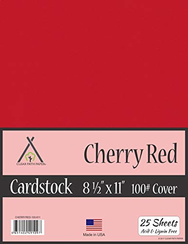 Cherry Red Cardstock - 8.5 x 11 inch - 100Lb Cover - 25 Sheets