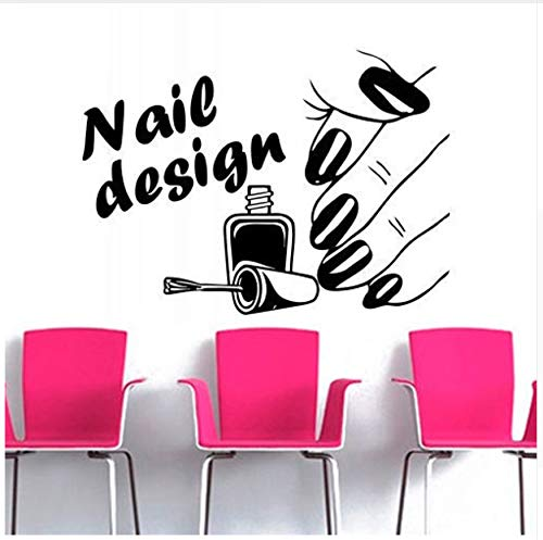 Dalxsh Nail Design Beauty Salon Series Wall Stickers Woman Hand with Nail Pattern Art Wall Murals Decor Home Room Special Decor ()