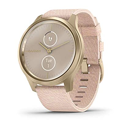 Garmin vívomove Style, Hybrid Smartwatch with Real Watch Hands and Hidden Color Touchscreen Displays, Gold with Pink Woven Nylon Band