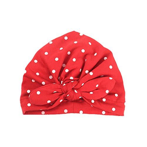 (Elastic Infant Toddler Kids Hat Spring Cotton Girls Hat Sweet Dot Red)
