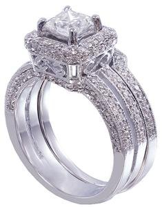 Princess Prong - 14K White Gold Princess and Round Cut Diamond Engagement Ring and Band Prong Set Split Shank Style Bridal Wedding Set 1.50ctw