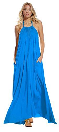 An Elan Usa Maxi Halter Tie Flowy Long Dress (RY597) Aqua-Blue-Small