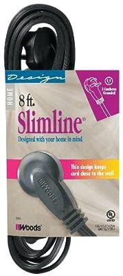 SlimLine 2243 Flat Plug 8-Foot Extension Cord, 3-Wire, Black