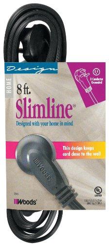 SlimLine 2243 Flat Plug 8-Foot Extension Cord, 3-Wire, Black (Coleman Slimline compare prices)