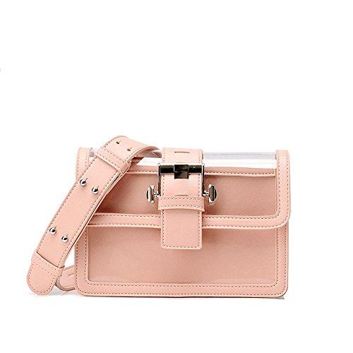 Sjmmbb Bolsa Transparente Mujer, Solo Hombro Con Correas De Sesgo,rosa,21x14x8cm. Sjmmbb Transparent Bag Woman Single Shoulder Straps Bias, Pink, 21x14x8cm. Rosa Pink