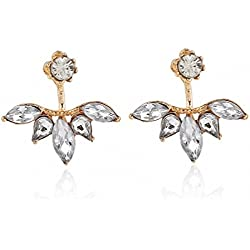 megko Fashion Jewelry Lady Elegant Teardrop Clear Crystal Cubic Zirconia Earrings Back Ear Cuffs Stud Earring (rose gold)