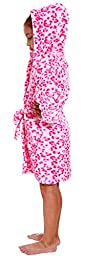 Simplicity Girl\'s Absorbent Bathrobe, Warm Lightweight Microfiber,Pink Leopard,S