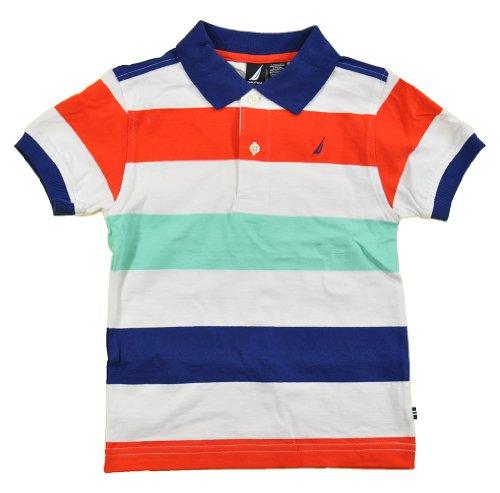 Nautica Toddler Boys S/S Multi Color Striped Polo 2pc Khaki Short Set (3T)