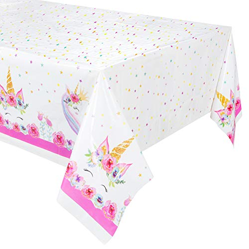 4Pack Larger Size Unicorn Plastic Table Cover,Disposable Unicorn Tablecloth, Magical Unicorn Party Supplies - 53 x 90 Inches (4pk)