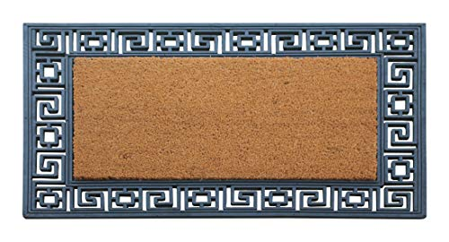 A1 Home Collections RC184 Heavy Duty Rubber and Coir Greek Key Border Doormat, 24X36, (Outdoor Rug Key Greek)