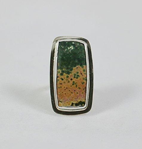 Ocean Jasper Sterling Silver Adjustable Ring ()