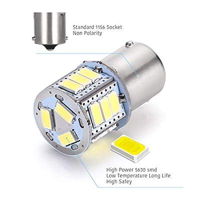 LUYED 2 x 800 Lumens 9v-30v 1156 1141 1003 5630 18-EX Chipsets Led Bulb Used for Back Up Reverse Lights,Brake Lights,Tail Lights,Rv Light,Xenon White: Automotive