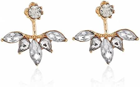 megko Lady Elegant Teardrop Clear Crystal Cubic Zirconia Earrings Back Ear Cuffs Stud Earring