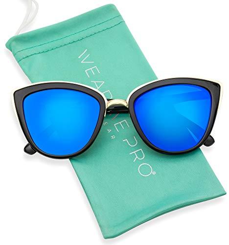 Womens Cat Eye Mirrored Reflective Lenses Oversized Cateyes ()