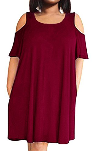 POSESHE Women's Plus Size Short Sleeve Cold Shoulder A-Line Flare Casual Mini Dress with Pockets Wine Red 14 (Love A Line Mini Dress With Pockets)