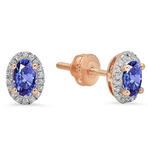 10K Rose Gold 5X3 Each Oval Tanzanite & Round White Diamond Ladies Stud Earrings