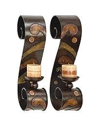 Benzara 13270 Set Of 2 Candle Holder Metal Wall Decor Sculpture