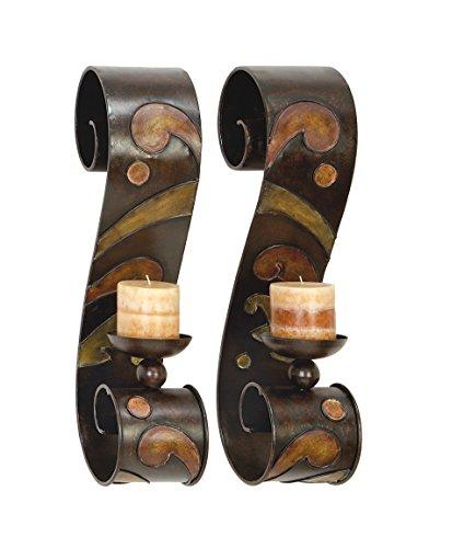 Benzara 13270 Set Of 2 Candle Holder Metal Wall Decor Sculpture (Decorator Set)