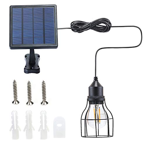 Kyson Outdoor Solar Powered Shed Light Pendant Lamp Vintage Hanging Edison Bulb Barn Light for Garden Porch Umbrella (Style 2) ()