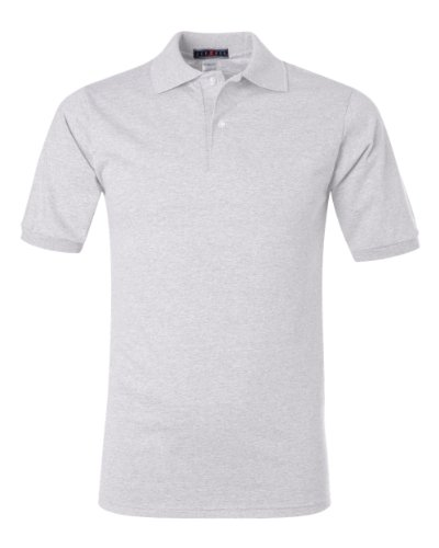 Adult Fashion Polo (Jerzees mens 5.6 oz. 50/50 Jersey Polo with SpotShield(437)-ASH-L)