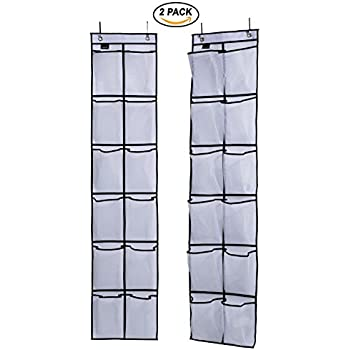 Misslo Over The Door Shoe Organizer 12 Large Mesh Pockets Hanging Narrow  Closet Door, White