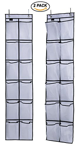 Misslo Over The Door Shoe Organizer 12 Large Mesh Pockets Hanging Narrow Closet Door, White, 2 Pack (Closet Doors Sizes Bifold)