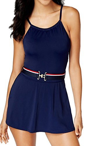 Tommy Hilfiger One Piece Swim Dress High Neck Belted Skirted Swimsuit Maillot Navy Blue (Belted Maillot)