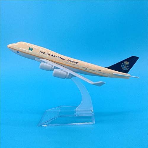 静的金属航空機サウジ航空B747航空機モデルキットで作られた16 cmサウジ航空ボーイング747モデル装飾