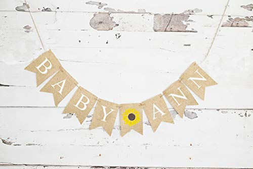 Sunflower Baby Personalized Banner for Baby Shower or Gender Reveal Party Decoration