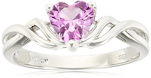 scross Heart Created-Pink-Sapphire Ring, Size 7 (Created Pink Sapphire Heart)