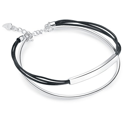 - SA SILVERAGE 925 Sterling Silver Black Leather Rope Wrap Bracelets for Cool Women Men 2-Layer Cuff (M)