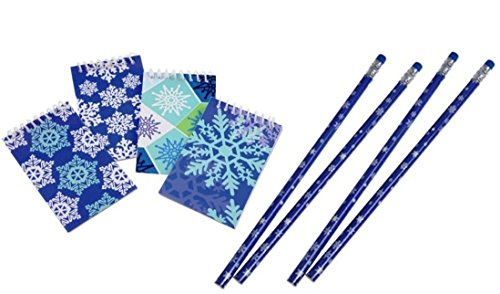 Winter Snowflake Notebooks & Pencils (Pack of 24; 12 Pcs Each) | Mini Pocket Memo Pads & Long Pencils Ideal For Christmas & Holiday Party Favors, Shopping List - Drawing Christmas Snowflakes