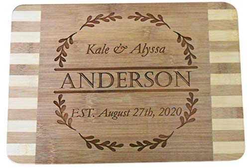 (Personalized Custom Engraved Bamboo Wood Cutting Board - 13.5