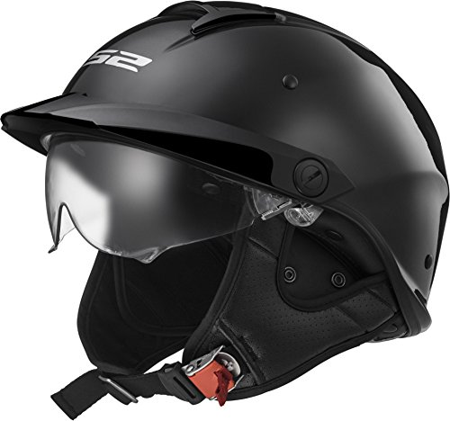 LS2 Helmets Rebellion Unisex-Adult Half Helmet Motorcycle Helmet (Gloss Black, Large)