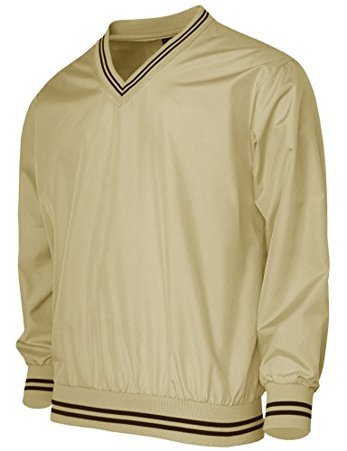 BCPOLO Men's Windshirt V-Neck Wind Shirt Wind Shirt Windbreaker Shirt Golf Shirt US Large(Asain XL) Beige