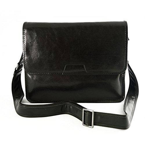 Bolso Messenger En Piel Verdadera, Compartimento Acolchado Color Negro - Peleteria Echa En Italia - Bolso Hombre