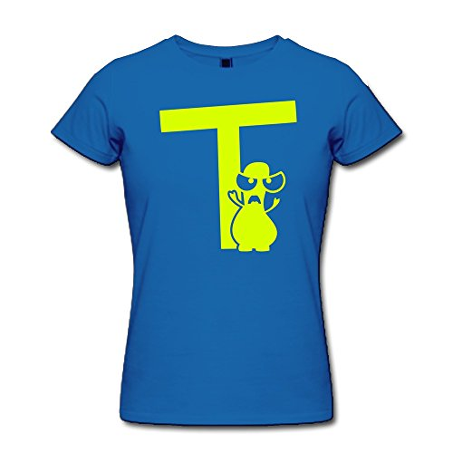 Vansty Monster T Mono 100% Cotton T Shirt For Female RoyalBlue Size XS
