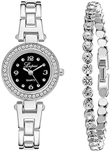 DAYLIN Conjunto de Reloj y Pulsera con Caja Relojes Mujer Conjunto Reloj Marea Niña Reloj Brazalete Oro Rosado Plata de Ley Reloj Analogico de Cuarzo Ragalos Joyas para Mujer: Amazon.es: Relojes