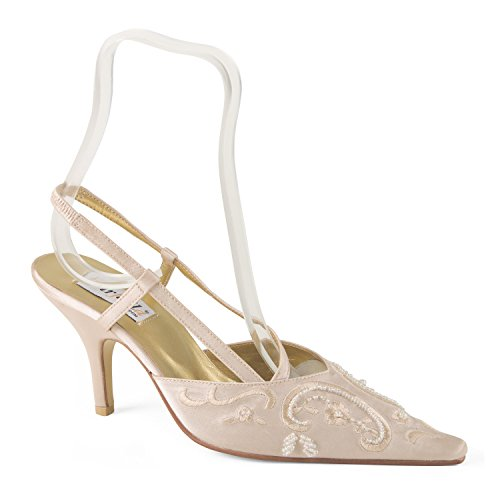 FARFALLA Beaded Embroidered Slingbacks (Beige, 4UK/37EU)