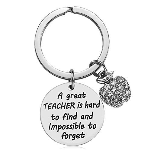 Gift for Women, Teach Love Inspire Heart Teacher Keychain, Jewelry Gift for Teachers, Birthday Gift for Teacher Valentines Gifts (A Great Teacher) ()