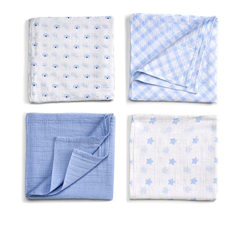 GUND Babygund Spunky Swaddle Blankets, Peek A Blue, 40 By 40