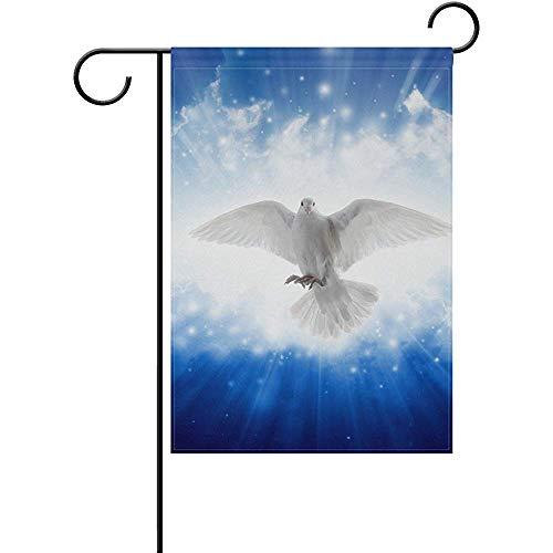 Staroden Holy Spirit Bird Flying Sky Bright Light Shines from Heaven Pattern Garden Flag Decorative Holiday Home Flag 12